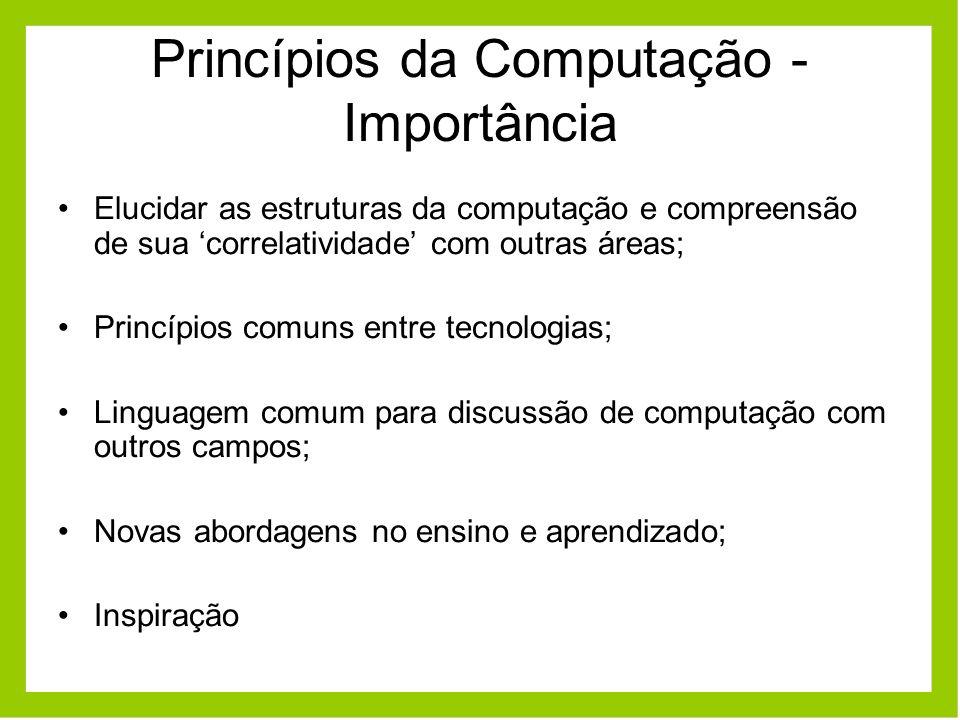Princípios da Computação - Importância Elucidar as estruturas da computação e compreensão de sua correlatividade com outras áreas; Princípios comuns e