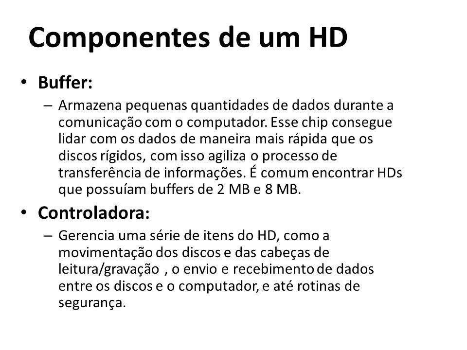 Componentes de um HD Buffer: – Armazena pequenas quantidades de dados durante a comunicação com o computador. Esse chip consegue lidar com os dados de