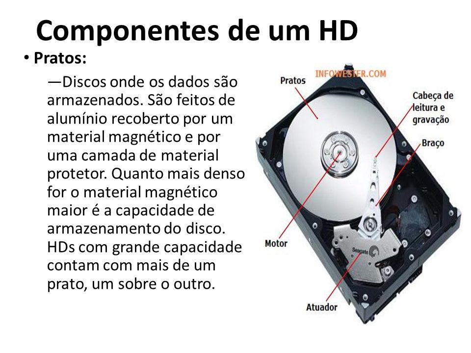 Componentes de um HD Pratos: Discos onde os dados são armazenados. São feitos de alumínio recoberto por um material magnético e por uma camada de mate