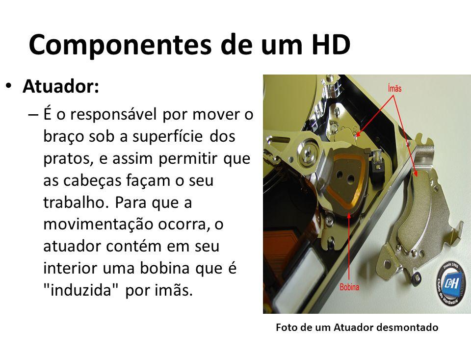Componentes de um HD Atuador: – É o responsável por mover o braço sob a superfície dos pratos, e assim permitir que as cabeças façam o seu trabalho. P