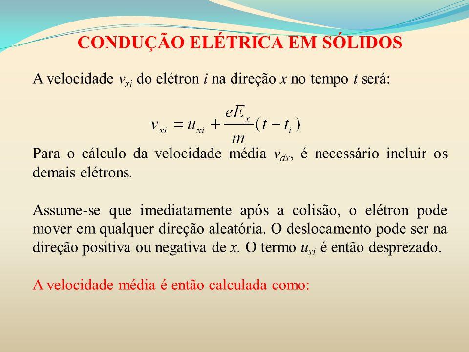 CONDUÇÃO ELÉTRICA EM SÓLIDOS A velocidade v xi do elétron i na direção x no tempo t será: Para o cálculo da velocidade média v dx, é necessário inclui
