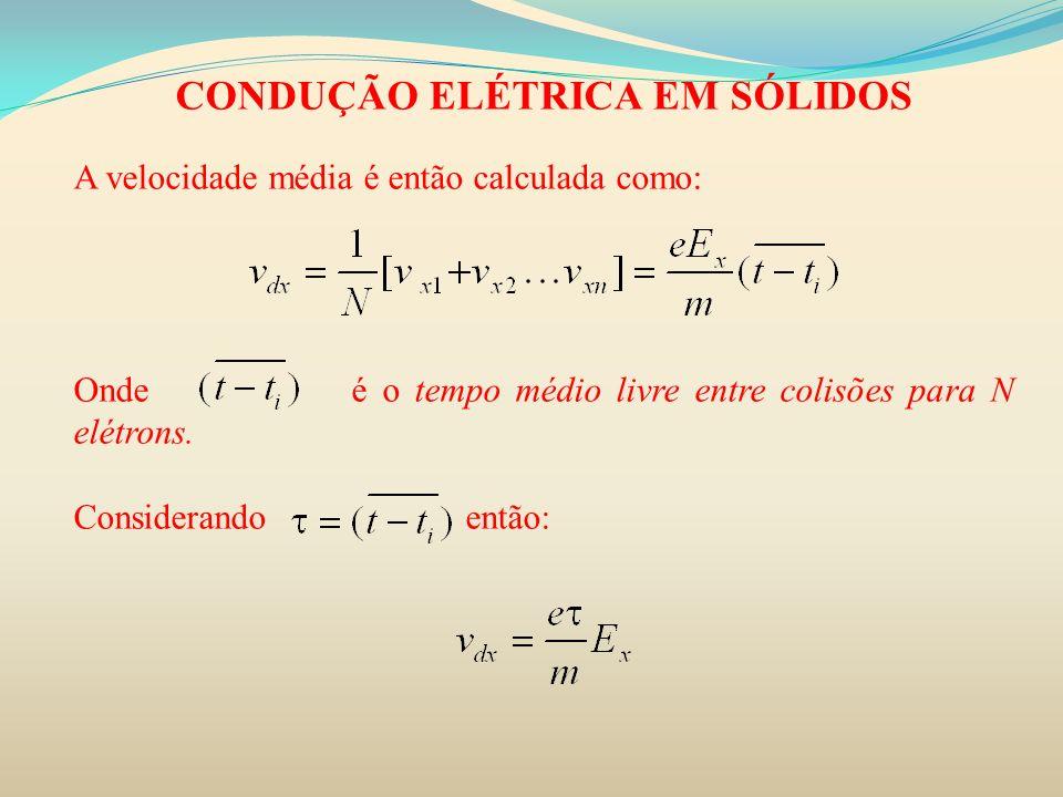 CONDUÇÃO ELÉTRICA EM SÓLIDOS A velocidade média é então calculada como: Onde é o tempo médio livre entre colisões para N elétrons. Considerando então: