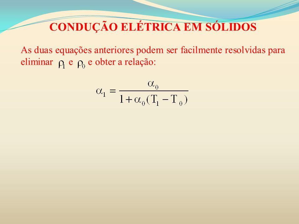 CONDUÇÃO ELÉTRICA EM SÓLIDOS As duas equações anteriores podem ser facilmente resolvidas para eliminar e e obter a relação: