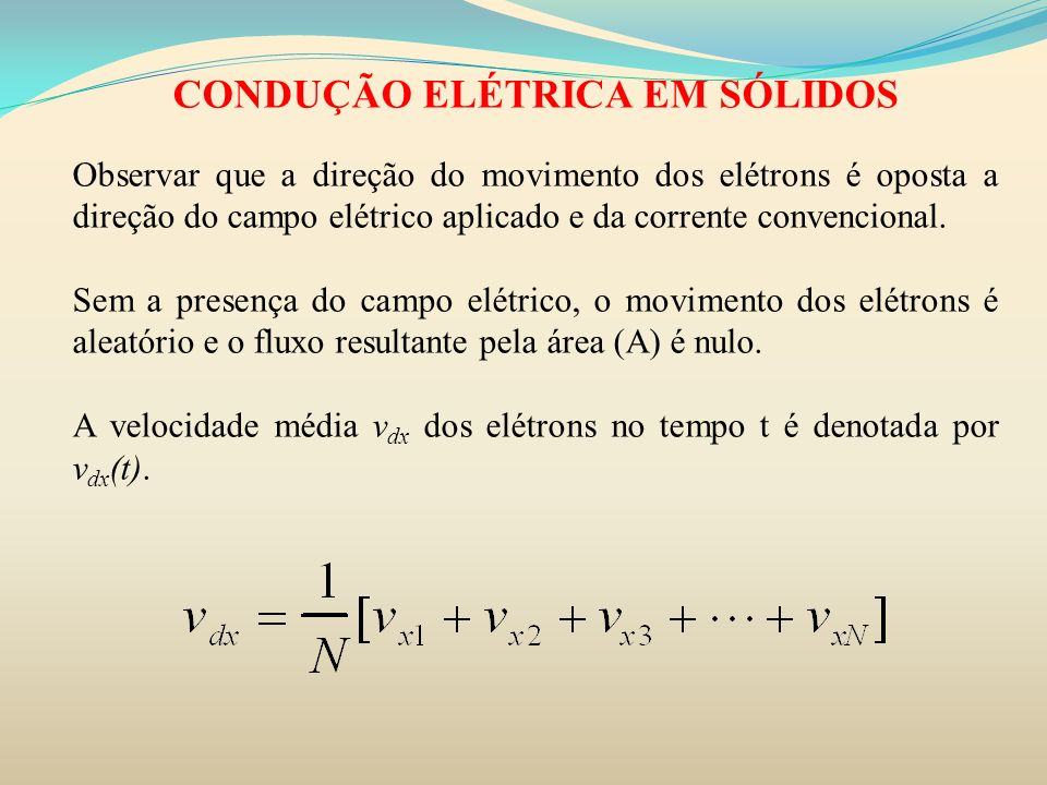 CONDUÇÃO ELÉTRICA EM SÓLIDOS Observar que a direção do movimento dos elétrons é oposta a direção do campo elétrico aplicado e da corrente convencional