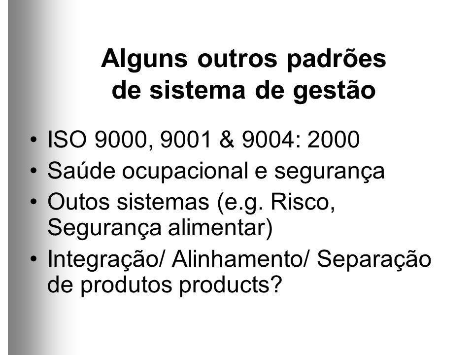Alguns outros padrões de sistema de gestão ISO 9000, 9001 & 9004: 2000 Saúde ocupacional e segurança Outos sistemas (e.g.