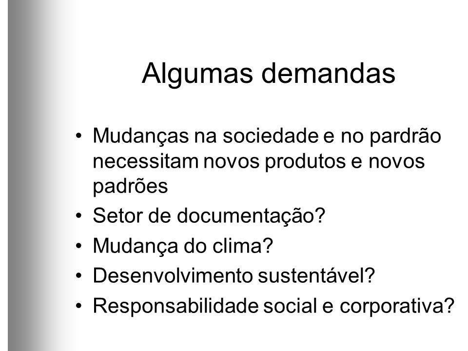 Algumas demandas Mudanças na sociedade e no pardrão necessitam novos produtos e novos padrões Setor de documentação.