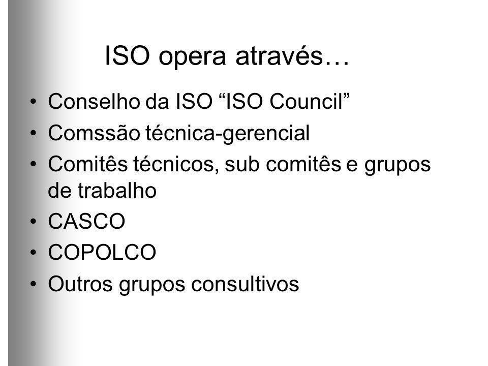 ISO opera através… Conselho da ISO ISO Council Comssão técnica-gerencial Comitês técnicos, sub comitês e grupos de trabalho CASCO COPOLCO Outros grupos consultivos