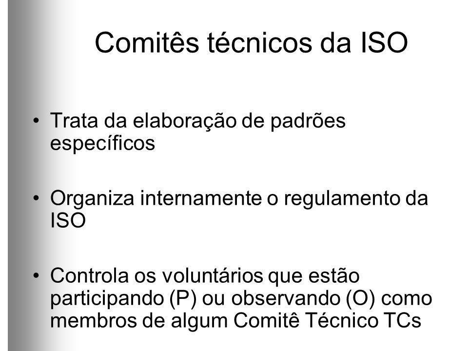 Comitês técnicos da ISO Trata da elaboração de padrões específicos Organiza internamente o regulamento da ISO Controla os voluntários que estão participando (P) ou observando (O) como membros de algum Comitê Técnico TCs