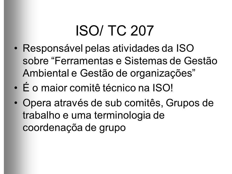 ISO/ TC 207 Responsável pelas atividades da ISO sobre Ferramentas e Sistemas de Gestão Ambiental e Gestão de organizações É o maior comitê técnico na ISO.