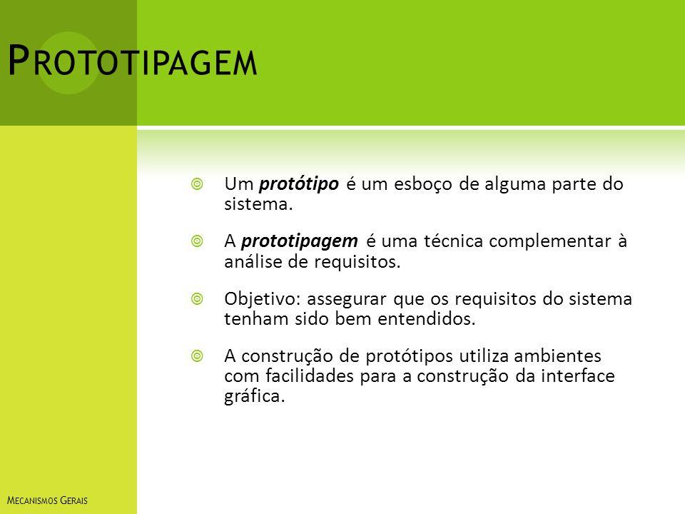 P ROTOTIPAGEM Um protótipo é um esboço de alguma parte do sistema. A prototipagem é uma técnica complementar à análise de requisitos. Objetivo: assegu