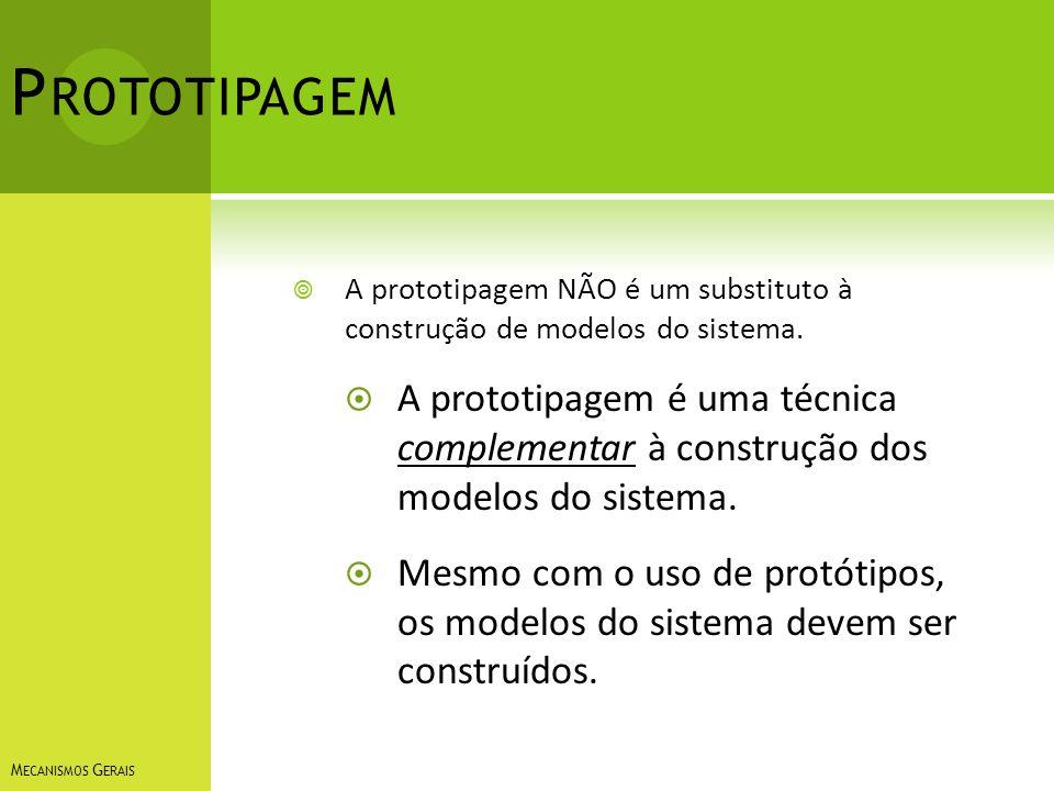 P ROTOTIPAGEM A prototipagem NÃO é um substituto à construção de modelos do sistema. A prototipagem é uma técnica complementar à construção dos modelo