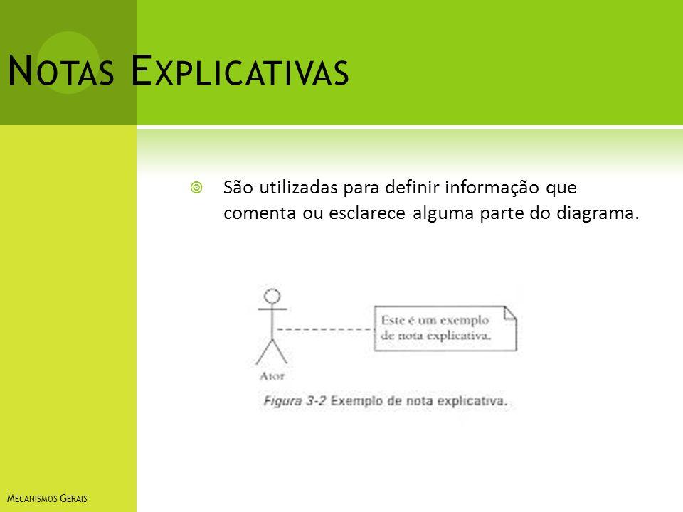 N OTAS E XPLICATIVAS São utilizadas para definir informação que comenta ou esclarece alguma parte do diagrama. M ECANISMOS G ERAIS