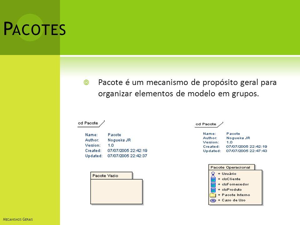 P ACOTES Pacote é um mecanismo de propósito geral para organizar elementos de modelo em grupos. M ECANISMOS G ERAIS