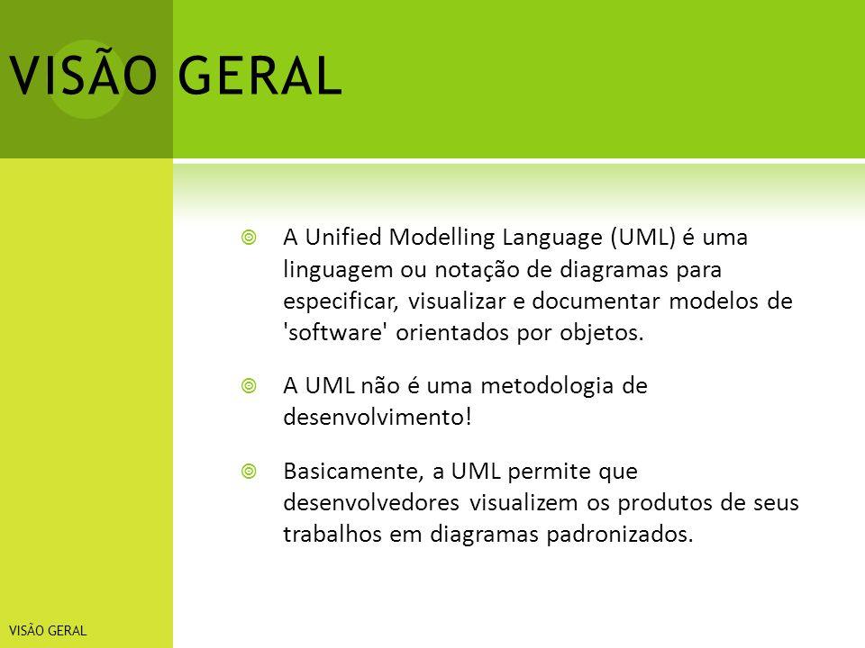 VISÃO GERAL A Unified Modelling Language (UML) é uma linguagem ou notação de diagramas para especificar, visualizar e documentar modelos de 'software'