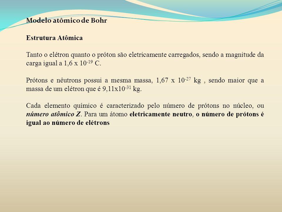 Modelo atômico de Bohr Estrutura Atômica Tanto o elétron quanto o próton são eletricamente carregados, sendo a magnitude da carga igual a 1,6 x 10 -19
