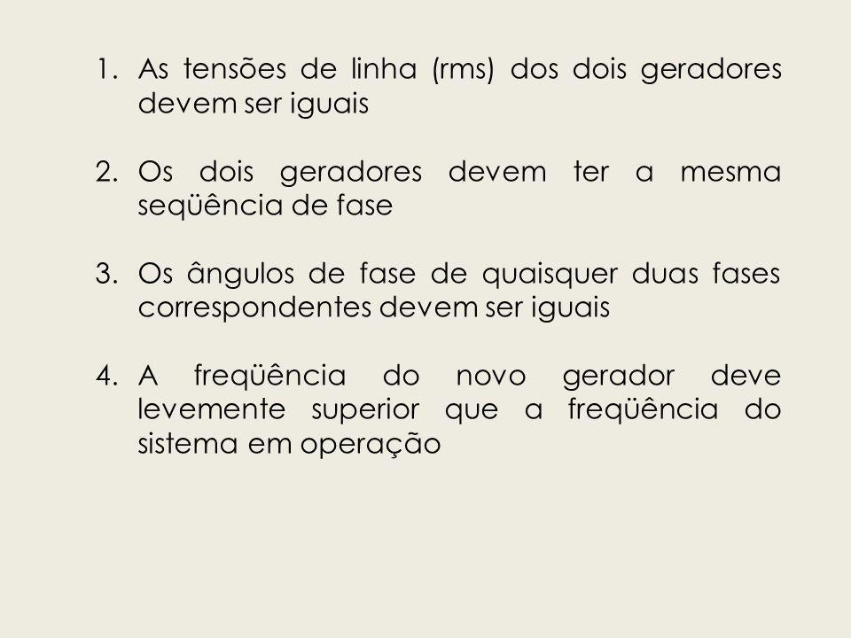 1.As tensões de linha (rms) dos dois geradores devem ser iguais 2.Os dois geradores devem ter a mesma seqüência de fase 3.Os ângulos de fase de quaisq