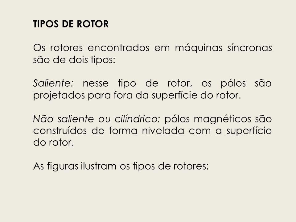 TIPOS DE ROTOR Os rotores encontrados em máquinas síncronas são de dois tipos: Saliente: nesse tipo de rotor, os pólos são projetados para fora da sup