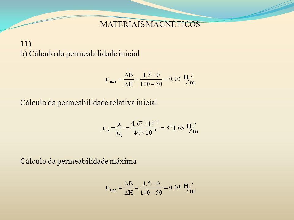 MATERIAIS MAGNÉTICOS 11) b) Cálculo da permeabilidade inicial Cálculo da permeabilidade relativa inicial Cálculo da permeabilidade máxima
