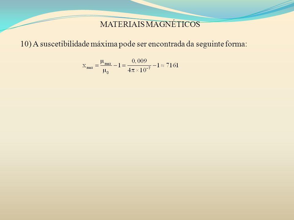 MATERIAIS MAGNÉTICOS 10) A suscetibilidade máxima pode ser encontrada da seguinte forma: