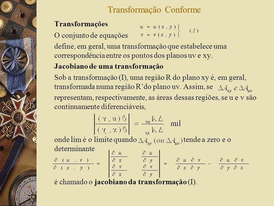 Transformação Conforme Transformações O conjunto de equações define, em geral, uma transformação que estabelece uma correspondência entre os pontos do