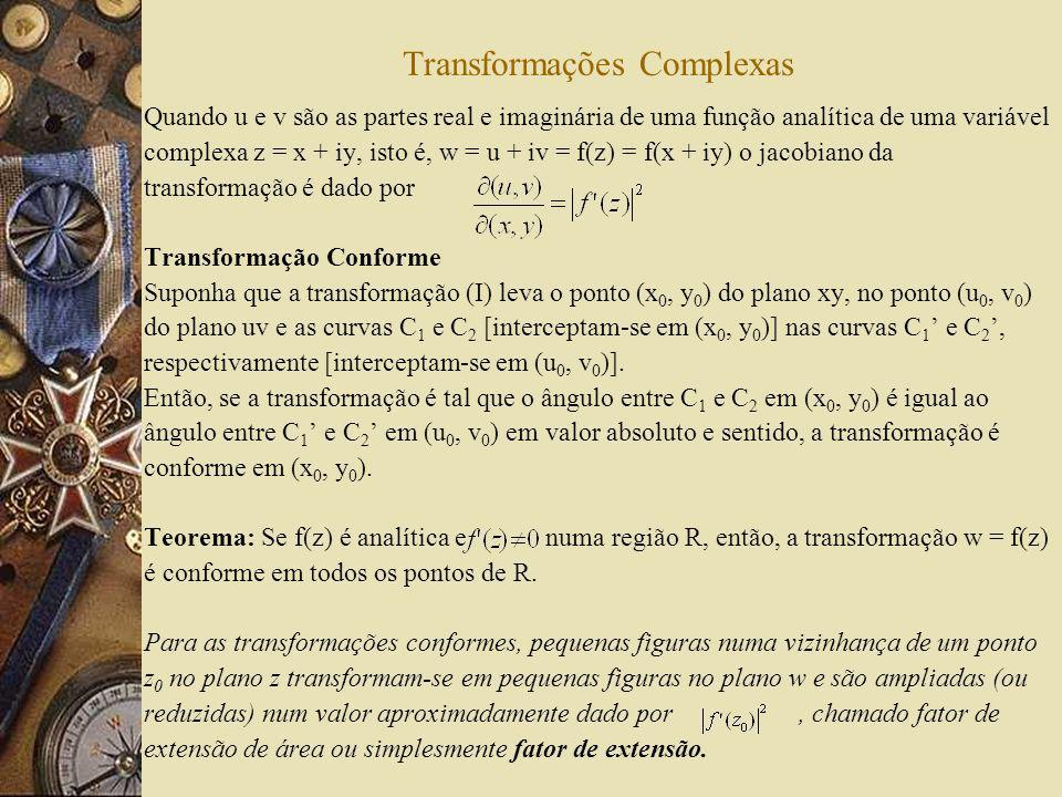 Transformações Complexas Quando u e v são as partes real e imaginária de uma função analítica de uma variável complexa z = x + iy, isto é, w = u + iv