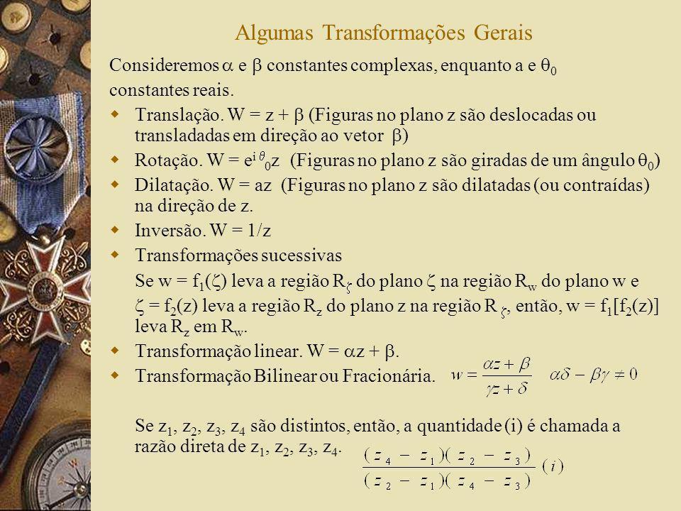 Algumas Transformações Gerais Consideremos e constantes complexas, enquanto a e 0 constantes reais. Translação. W = z + (Figuras no plano z são desloc