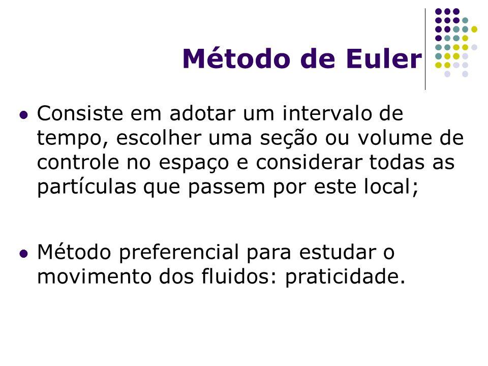 Método de Euler Consiste em adotar um intervalo de tempo, escolher uma seção ou volume de controle no espaço e considerar todas as partículas que pass