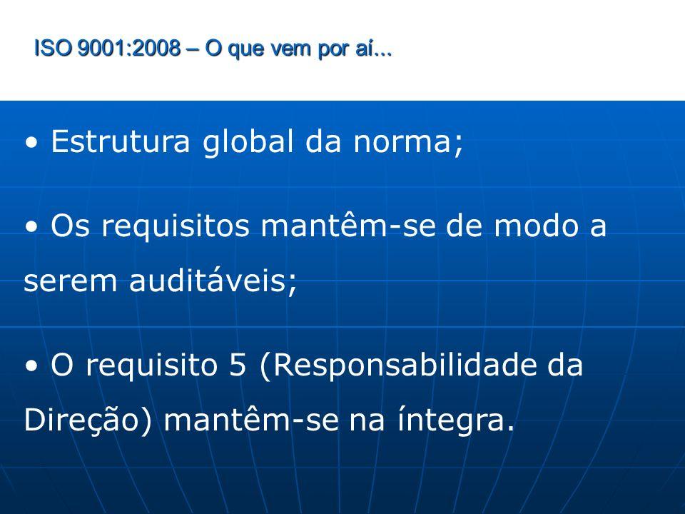 ISO 9001:2008 – O que vem por aí... Estrutura global da norma; Os requisitos mantêm-se de modo a serem auditáveis; O requisito 5 (Responsabilidade da
