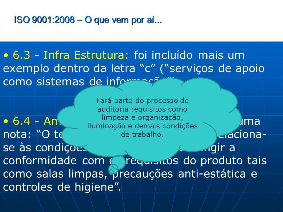 ISO 9001:2008 – O que vem por aí... 6.3 - Infra Estrutura: foi incluído mais um exemplo dentro da letra c (serviços de apoio como sistemas de informaç