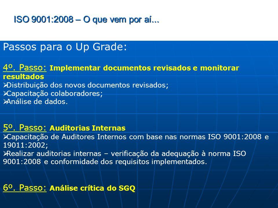 ISO 9001:2008 – O que vem por aí... Passos para o Up Grade: 4º. Passo: Implementar documentos revisados e monitorar resultados Distribuição dos novos