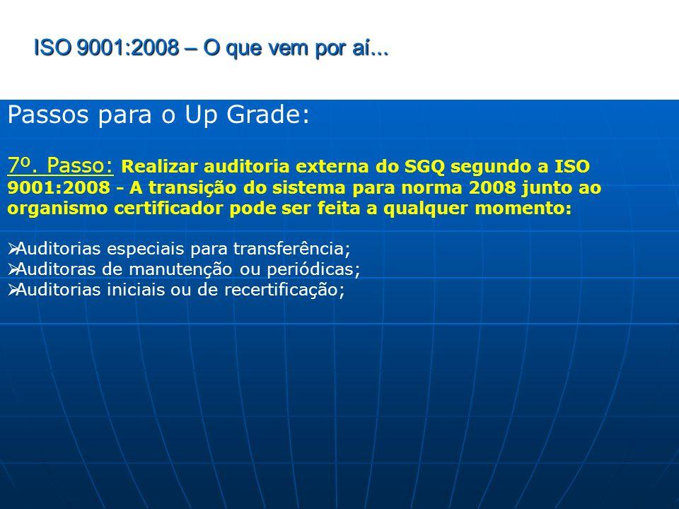 ISO 9001:2008 – O que vem por aí... Passos para o Up Grade: 7º. Passo: Realizar auditoria externa do SGQ segundo a ISO 9001:2008 - A transição do sist