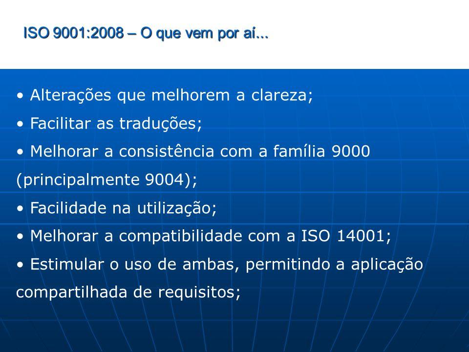 ISO 9001:2008 – O que vem por aí... Alterações que melhorem a clareza; Facilitar as traduções; Melhorar a consistência com a família 9000 (principalme