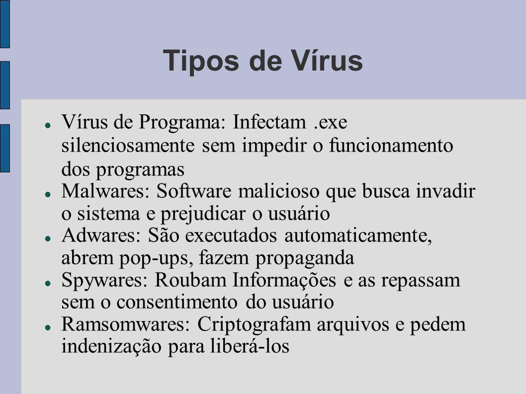 Tipos de Vírus Vírus de Programa: Infectam.exe silenciosamente sem impedir o funcionamento dos programas Malwares: Software malicioso que busca invadi