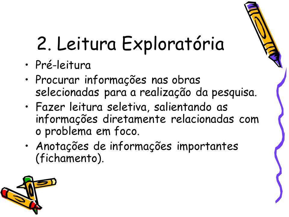 2. Leitura Exploratória Pré-leitura Procurar informações nas obras selecionadas para a realização da pesquisa. Fazer leitura seletiva, salientando as