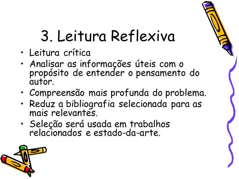 3. Leitura Reflexiva Leitura crítica Analisar as informações úteis com o propósito de entender o pensamento do autor. Compreensão mais profunda do pro