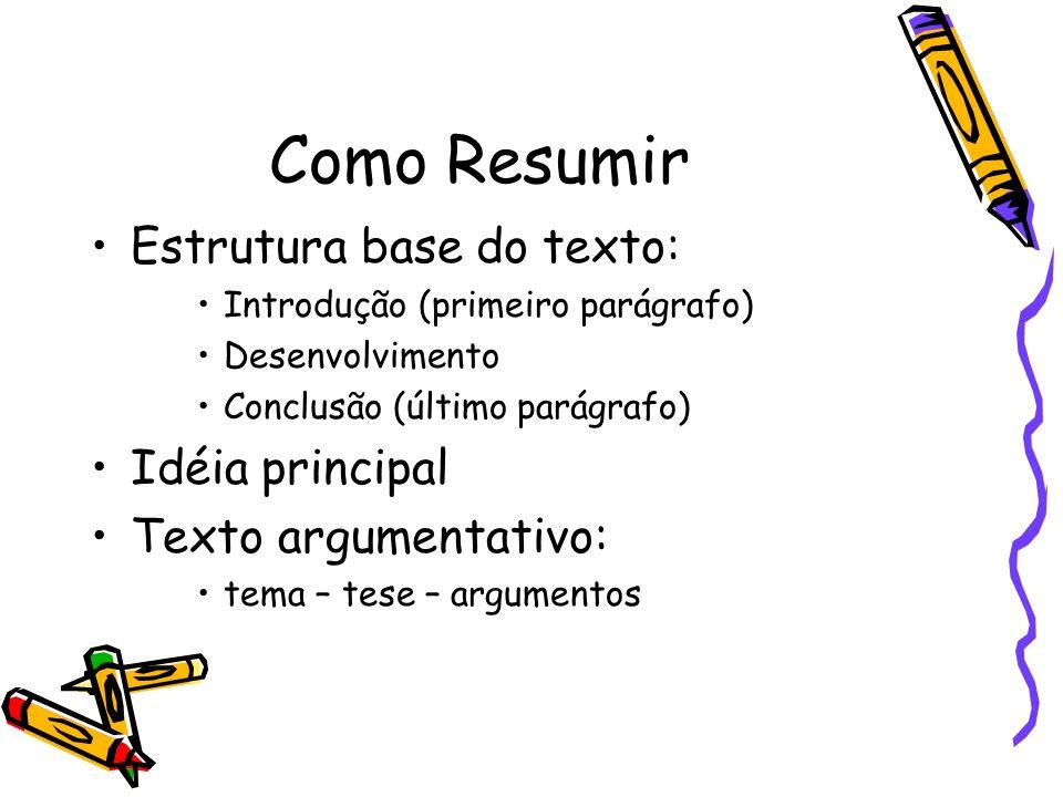 Como Resumir Estrutura base do texto: Introdução (primeiro parágrafo) Desenvolvimento Conclusão (último parágrafo) Idéia principal Texto argumentativo: tema – tese – argumentos