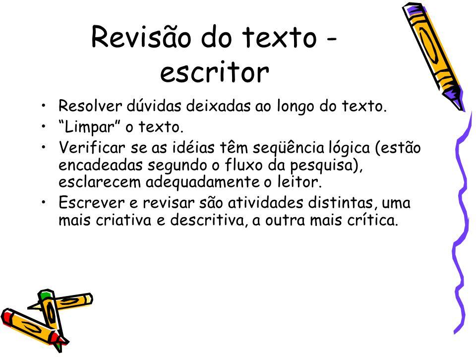 Revisão do texto - escritor Resolver dúvidas deixadas ao longo do texto.
