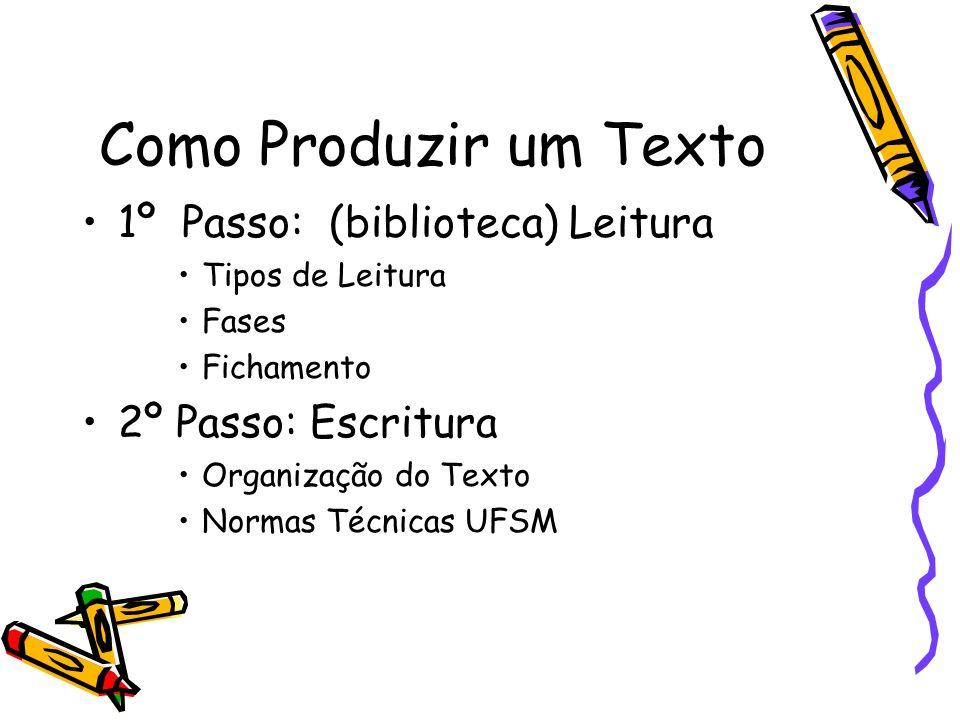 Como Produzir um Texto 1º Passo: (biblioteca) Leitura Tipos de Leitura Fases Fichamento 2º Passo: Escritura Organização do Texto Normas Técnicas UFSM