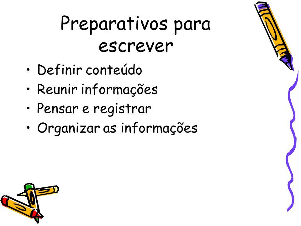 Preparativos para escrever Definir conteúdo Reunir informações Pensar e registrar Organizar as informações