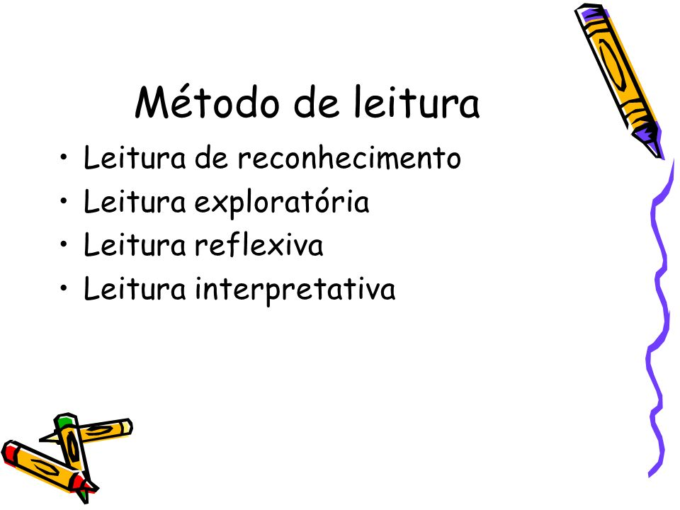 Método de leitura Leitura de reconhecimento Leitura exploratória Leitura reflexiva Leitura interpretativa