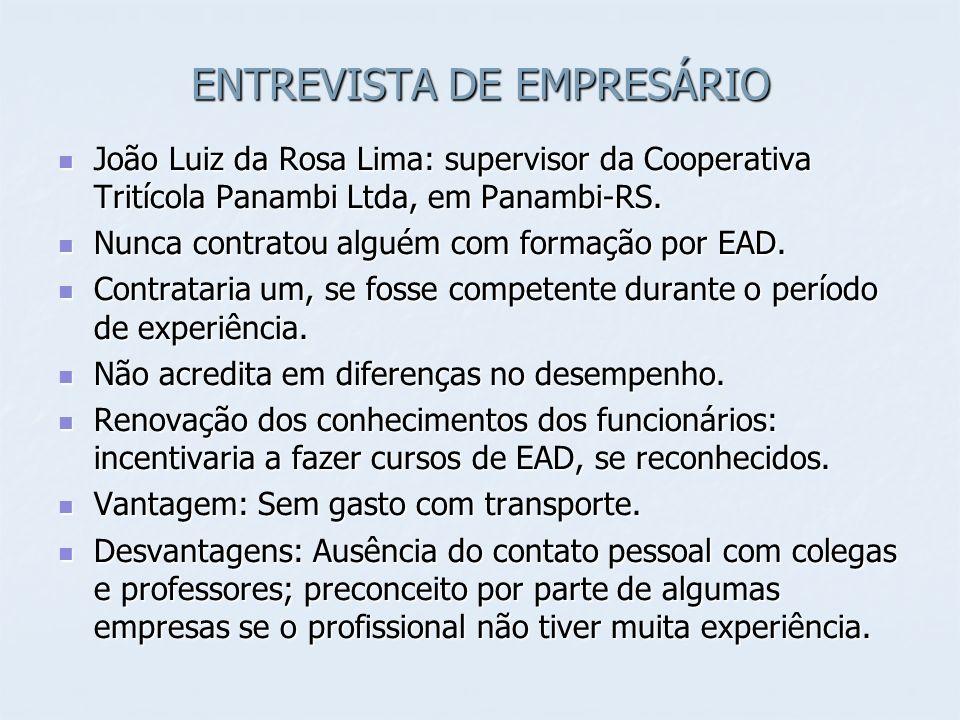 ENTREVISTA DE EMPRESÁRIO João Luiz da Rosa Lima: supervisor da Cooperativa Tritícola Panambi Ltda, em Panambi-RS. João Luiz da Rosa Lima: supervisor d