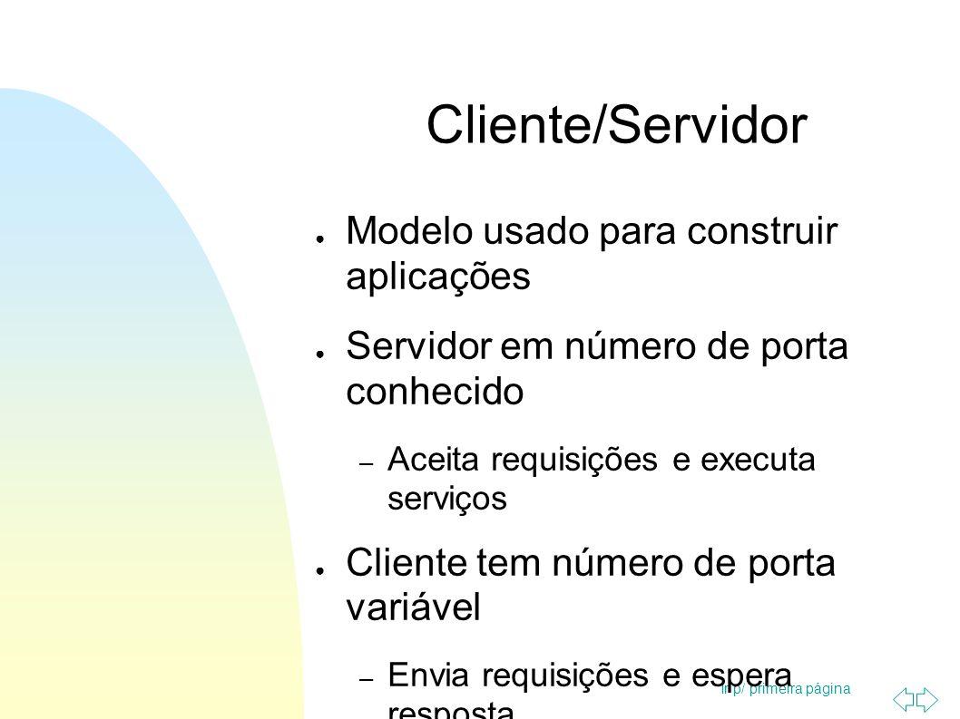 Ir p/ primeira página Cliente/Servidor Modelo usado para construir aplicações Servidor em número de porta conhecido – Aceita requisições e executa ser