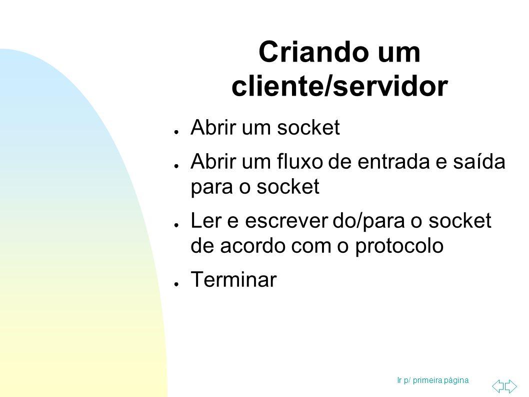 Ir p/ primeira página Criando um cliente/servidor Abrir um socket Abrir um fluxo de entrada e saída para o socket Ler e escrever do/para o socket de a