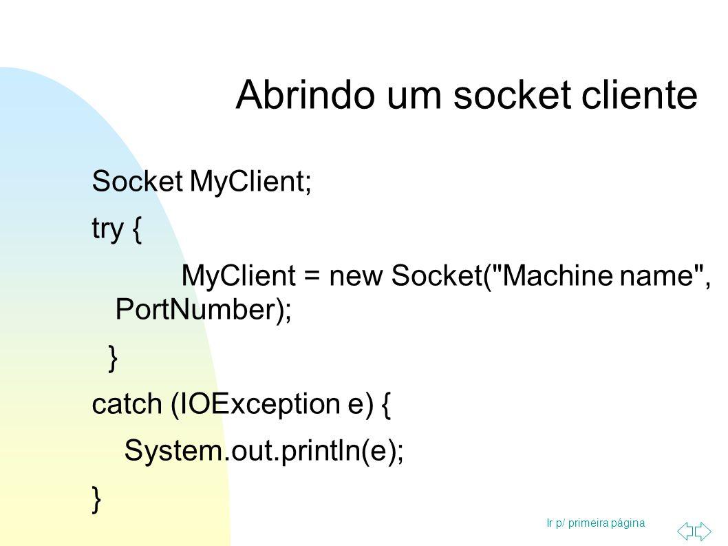 Ir p/ primeira página Abrindo um socket servidor ServerSocket MyService; try { MyService = new ServerSocket(PortNumber); } catch (IOException e) { System.out.println(e); }