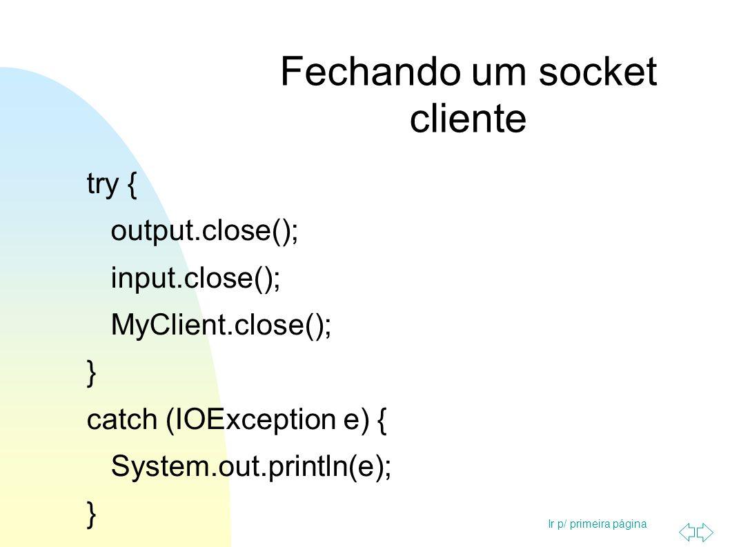 Ir p/ primeira página Fechando um socket servidor try { output.close(); input.close(); serviceSocket.close(); MyService.close(); } catch (IOException e) { System.out.println(e); }