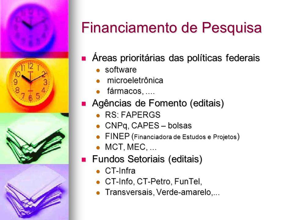 Financiamento de Pesquisa Áreas prioritárias das políticas federais Áreas prioritárias das políticas federais software software microeletrônica microeletrônica fármacos,....
