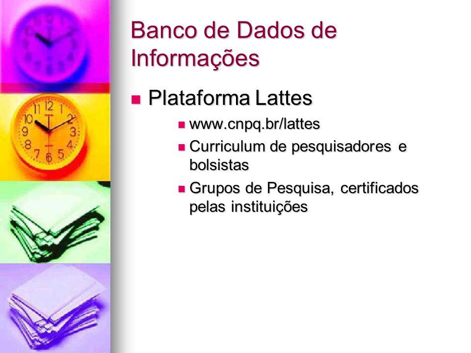 Banco de Dados de Informações Plataforma Lattes Plataforma Lattes www.cnpq.br/lattes www.cnpq.br/lattes Curriculum de pesquisadores e bolsistas Curriculum de pesquisadores e bolsistas Grupos de Pesquisa, certificados pelas instituições Grupos de Pesquisa, certificados pelas instituições