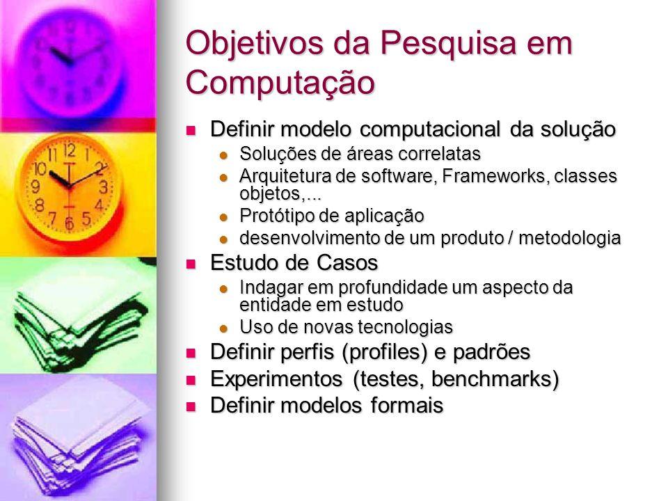 Objetivos da Pesquisa em Computação Definir modelo computacional da solução Definir modelo computacional da solução Soluções de áreas correlatas Soluções de áreas correlatas Arquitetura de software, Frameworks, classes objetos,...