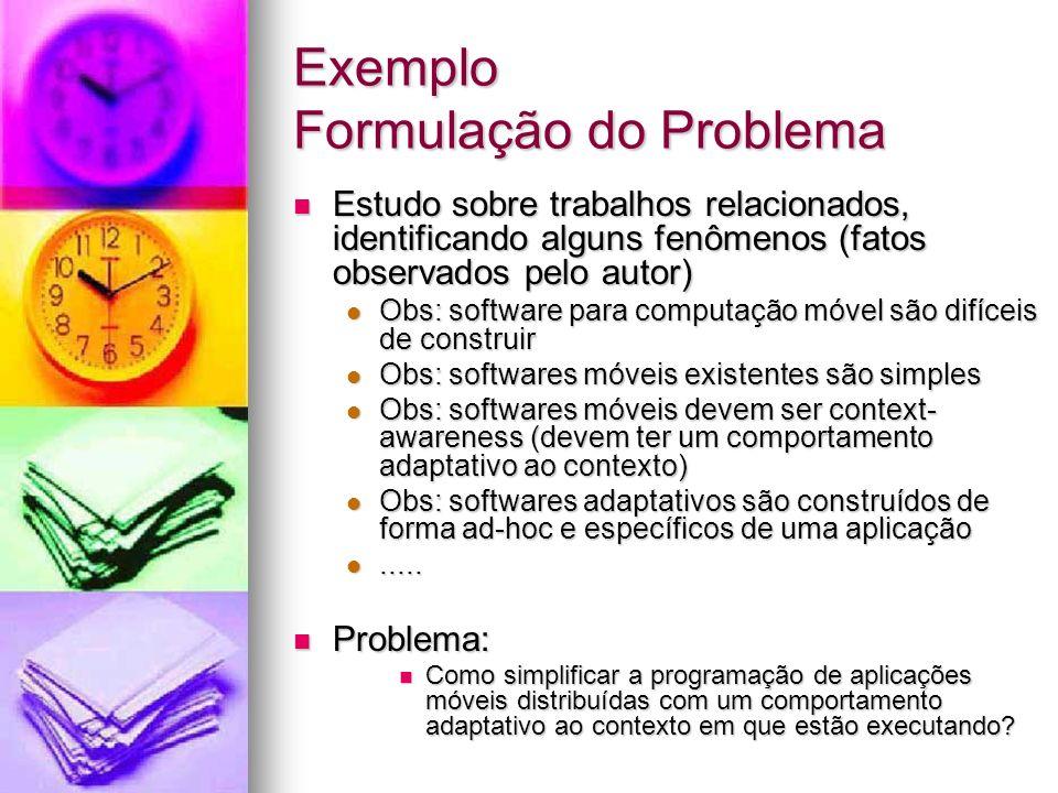 Exemplo Formulação do Problema Estudo sobre trabalhos relacionados, identificando alguns fenômenos (fatos observados pelo autor) Estudo sobre trabalho