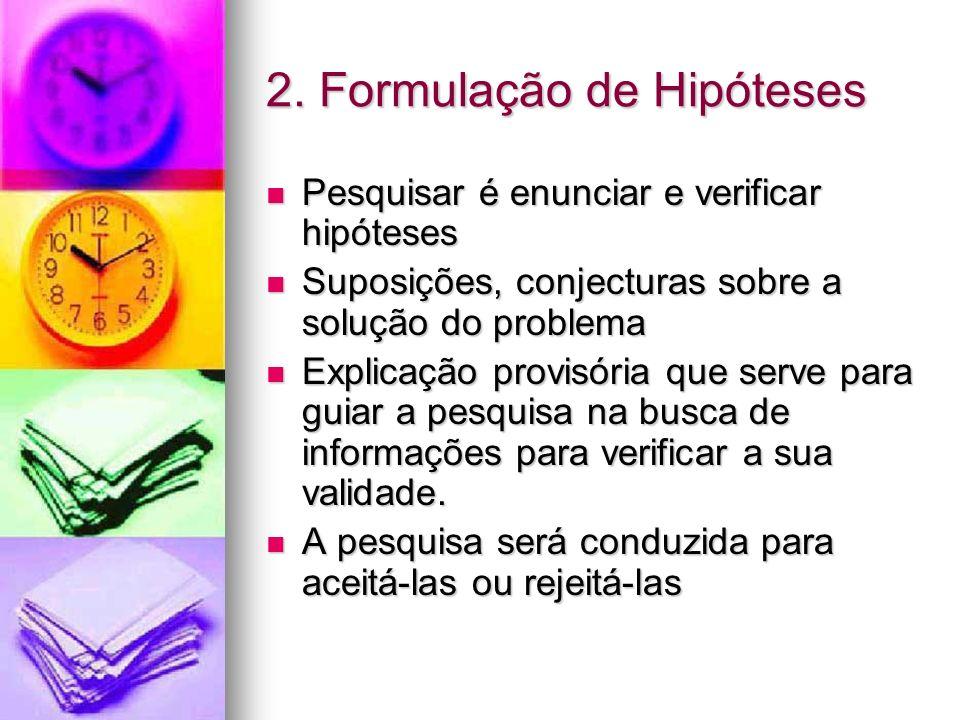 2. Formulação de Hipóteses Pesquisar é enunciar e verificar hipóteses Pesquisar é enunciar e verificar hipóteses Suposições, conjecturas sobre a soluç